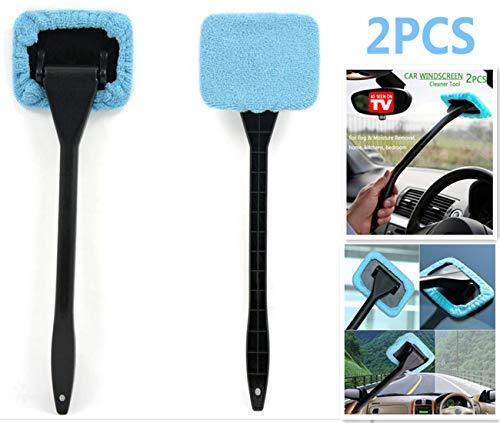 DSHT Paquete de 2 Herramientas limpiadoras de Parabrisas de Autos Desde la Ventana Interior Herramientas de Limpieza de vidrios para cocinas caseras con paño y Mango Largo (Lake Blue)