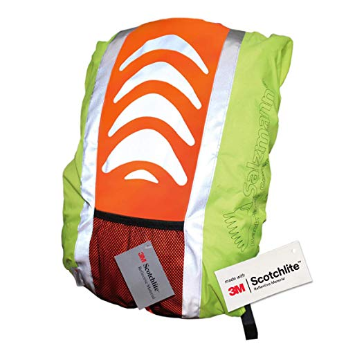 Salzmann 3M Reflective Rucksack Cover High Visibility, Waterproof, Weatherproof Made with 3M Scotchlite, Yellow / Orange, Standard (up to 36L)