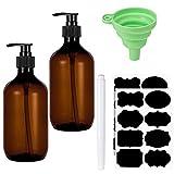 SOSPIRO 2 Stück Nachfüllbare Leere Shampooflaschen, 500 ml Seifenspender Flaschen für...