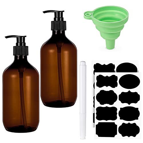 SOSPIRO 2 Stück 500 ml Nachfüllbare Leere Shampooflaschen inkl. 1 Trichter, 2 PVC Etiketten,1 Weißer Stift Kunststoffpresse Spender für Flüssigseife Shampoo Conditioner Duschgel