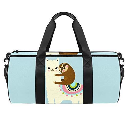 Xingruyun Sporttasche Kinder Nettes Alpaka-Faultier Badetasche Gym Tasche schwimmtasche Schultertaschen Reisetasche Urlaubstasche klein Fitnesstasche Sport-Taschen für Mädchen Jungen 45x23x23cm