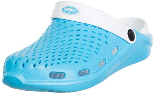 Brandsseller Damskie buty sportowe Clog Sport domowe buty ogrodowe buty kąpielowe – 2 kolory, niebieski - jasnoniebieski biały - 40 EU