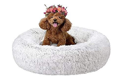 Cama para mascotas Donut, cama antideslizante para perro, cama estabilizadora, lavable a máquina, duradera, adecuada para perros y gatos, color blanco 3XL