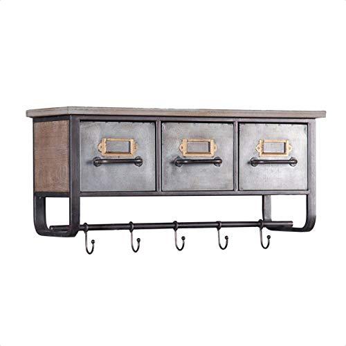 Emmanuelle Metal and Wood Wall Shelf