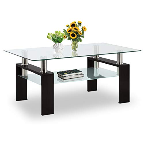 Coffee Table Glass Top 2-Tier Rectangle Glass Coffee Table with Lower Shelf Metal Legs for Living Room Furniture (Black)