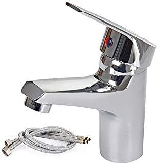 Waterfall Bathroom Monobloc Basin Sink Mixer Tap Chrome Single Lever with 2 Hoses