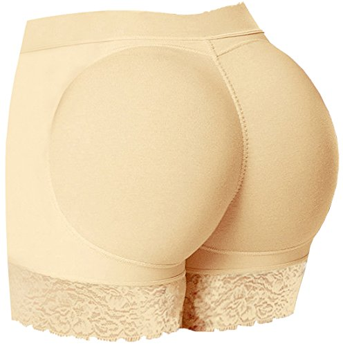 EUDOLAH Damen Push up Unterhose Mieder Panty Contur Slip Padded (Medium, beige)