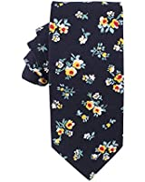 Navy Floral Skinny Ties | Cotton Neckties | Gift for Men | Work Ties for Him | Birthday Gift for Guys (Navy Floral)