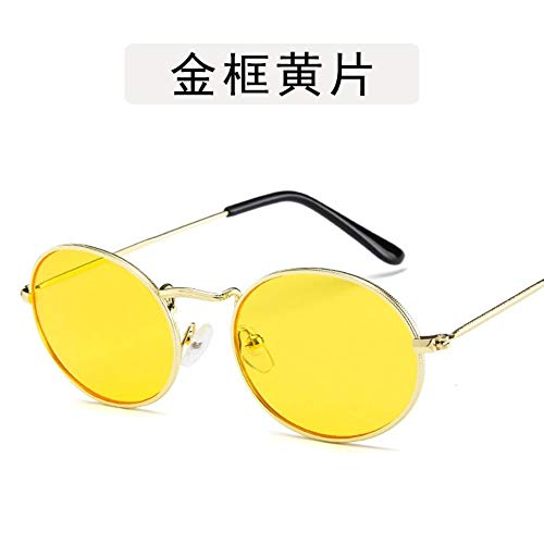 Mojingyan zonnebrillen zonnebrillen zijn kleine ronde vrouwen mannen unisex retro zonnebril mode designer rode lens festival meisjes bril goud geel