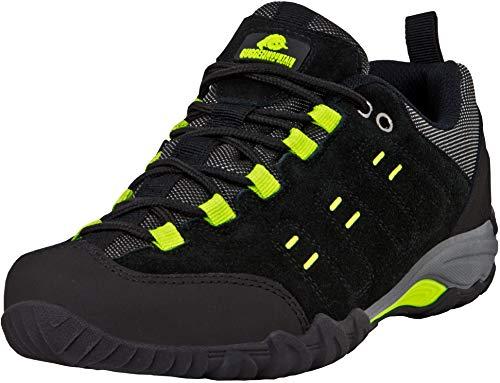 GUGGEN Mountain T004 Hommes Chaussures De Trekking Et De Randonnée Imperméable avec Membrane Et Daim Couleur Noir-Vert EU 43