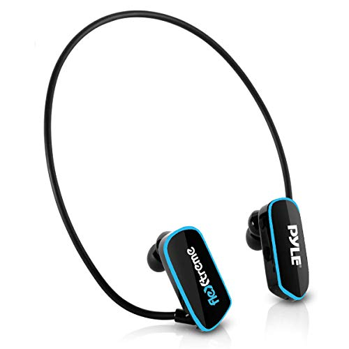 Waterproof MP3 Player Swim Headphone - Submersible IPX8 Flexible Wrap-Around Style Headphones Built-in Rechargeable Battery USB Connection w/ 4GB Flash Memory & Replacement Earbuds - Pyle PSWP6BK.5