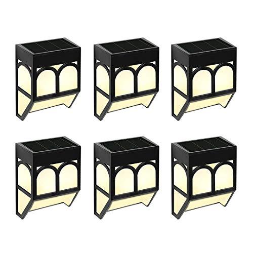 Solarlampen für Außen Garten Wandleuchten - Solar LED Solarleuchten Wasserdicht Solarlicht Wand Hof Deko für Einfahrt, Zaun, Terrasse, Haustür, Treppe, Landschaft, Farbwechsel/Warm Weiß, 6er Packung