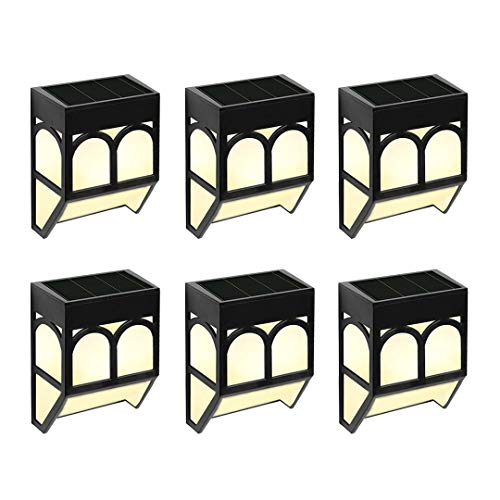 Solar Fence Lights Outdoor Garden - 6 Pack Solar Powered Wall Lights Waterproof for Deck, Fence, Patio, Front Door, Stair, Lawn,Landscape, Yard and Driveway Path,Warm White/Color Changing