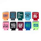 Beer Can Coolie 10-Pack - Funny Sayings Beverage Insulator Can Sleeves - Perfect for Parties, Camping, and Tailgating