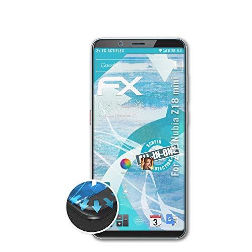 atFolix Schutzfolie kompatibel mit ZTE Nubia Z18 Mini Folie, ultraklare & Flexible FX Bildschirmschutzfolie (3X)