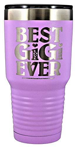 """GIFTS FOR GIGI – """"BEST GIGI EVER ~ LOVE YOU"""" GK Grand Engraved Stainless Steel Vacuum Insulated Tumbler Travel Coffee Mug Hot Cold Wine Mothers Day Birthday Christmas (Pastel Lavendar, 30 oz)"""