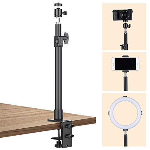 TARION Tabletop Light Stand Camera Clip Stand, 35-60cm Adjustable Table Mount Desk Mounting Lighting Monopod with 1/4 Scew and Extra 360° Ball Head, for Live Streaming Video Photography Shooting