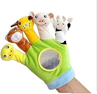 Hand Finger Plush Puppets Glove, Animal Finger Puppet for Children Early Education Toys for New Born Baby(Green)