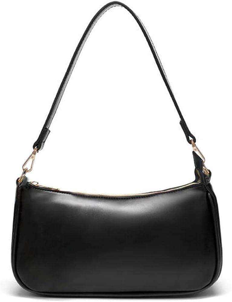 NIUEIMEE ZHOU Shoulder Bag for Women Retro Vegan Leather Classic Clutch Tote HandBag with Zipper Closure
