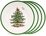 Spode - Classic Christmas Tree Design Earthenware Dinner Plates (Set of 4, 10.5') - Microwave and Dishwasher Safe