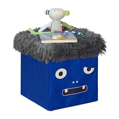 Relaxdays Sitzhocker Kinder, Sitzbox faltbar, mit Stauraum, Sitzwürfel Monster-Design, HxBxT 32 x 32 x 32 cm, blau-grau
