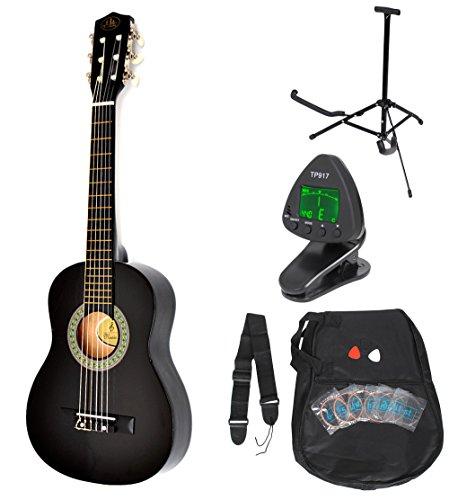 1/4 Kinder Akustik Klassik Gitarre Schwarz Konzertgitarre ca. 4-7 Jahre als Set mit Stimmgerät, Gitarrenständer, Ersatzsaiten und drei Plektren
