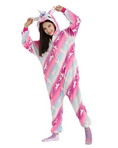 DRESHOW Weiche Mädchen Einhorn Bademantel Nachtwäsche Komfortable Onesie Tier Schlafanzug Pyjamas Kostüm für Kinder,Pajamas Pink Galaxy Unicorns,10-12 Jahre (140)