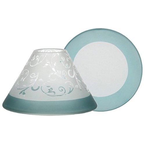 YANKEE CANDLE Teal Vine Set Kerzenschirm + Teller, Glas, gefrosted taubenblau, 18.5 x 18.5 x 10 cm