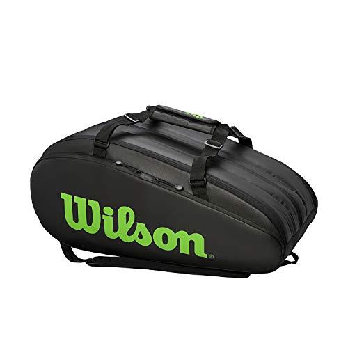 Wilson Tour, WR8002301001 Borsone per Racchette da Tennis, per 15 Racchette, Con Spallacci, Nero/Verde