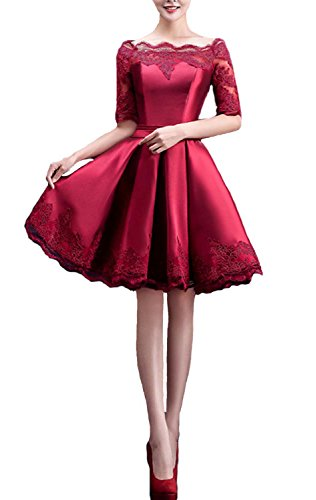 Fanhao Women's Off The Shoulders Lace Sleeves Short Evening Gown Prom Dress,Burgundy,S