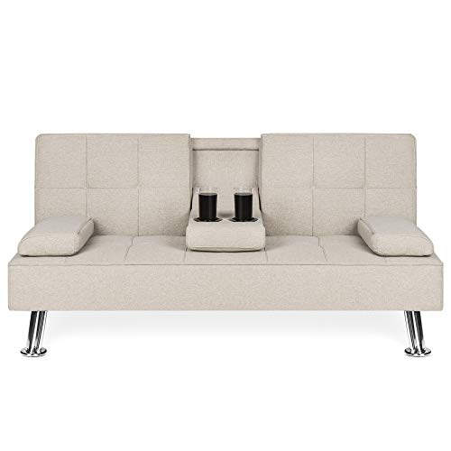 Best Choice Products Modern Linen Convertible Futon Sofa Bed w/Metal Legs, 2 Cupholders - Beige