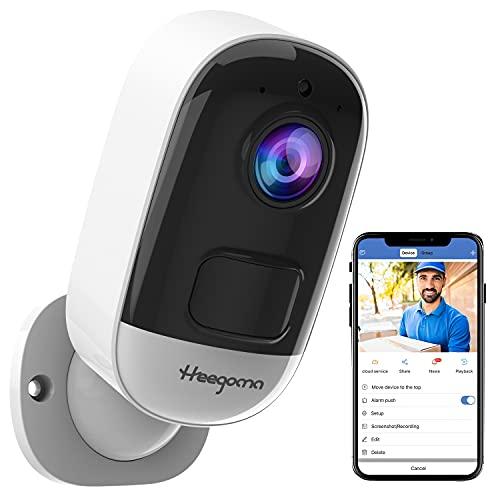 Heegomn Cámara de Seguridad inalámbrica 1080P a batería con WiFi, cámara IP para Interiores / Exteriores con Detector de Movimiento PIR, IP66 a Prueba de Agua, visión Nocturna, Audio bidireccional