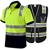 JKSafety 9 Multiple Pockets High Reflective Safety Vest and Hi-Vis Reflective Safety Polo Shirt (Size 3X-Large)