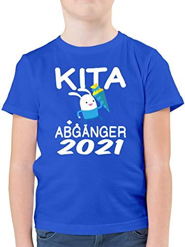 Einschulung und Schulanfang - Kita Abgänger 2021 rennender Hase mit Schultüte - 104 (3/4 Jahre) - Royalblau - Statement - F130K - Kinder Tshirts und T-Shirt für Jungen
