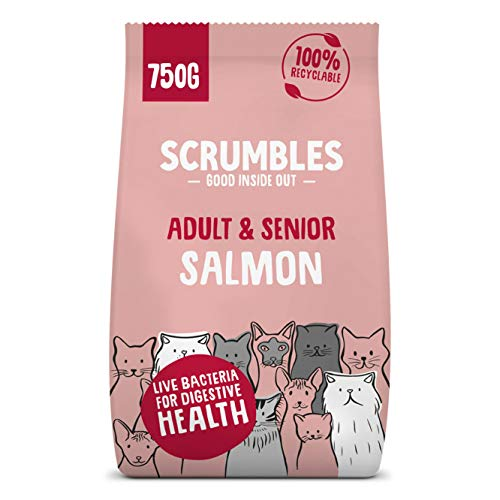 Scrumbles All Natural Dry Cat Food With 75% Chicken and Fresh Salmon, High...