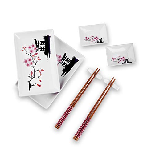Panbado 8 pcs Sushi Plate Set, Porcelain Sushi Sets Japanese Style, Gift Box Include 2 X Sushi Plates, 2 X Dip Bowls, 2 X Chopstick Rest, 2 Pairs of Bamboo Chopsticks. White