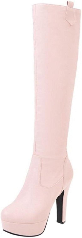 JOJONUNU Women Chunky Heel Knee High Boots