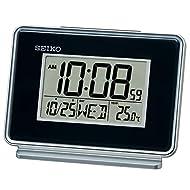 Seiko LCD Dual Alarm Calendar Clock-Black, 6x12x8 cm
