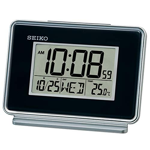 Seiko LCD Dual Alarm Kalender Uhr schwarz 6x12x8cm