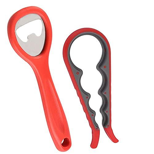 LINVINC 2 Pezzi Apribarattoli Apribottiglie - Gadget da Cucina Manuale apriscatole Apribottiglie Studiato per Mani Deboli Regalo Perfetto (Rosso)