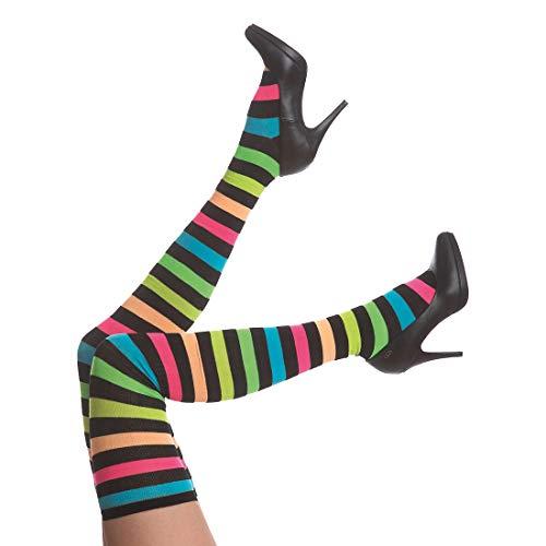 NET TOYS Stylische Clown Kniestrümpfe gestreift - Knalliges Damen-Kostüm-Zubehör Harlekin Ringelstrümpfe für Frauen - Perfekt geeignet für Karneval & Mottoparty