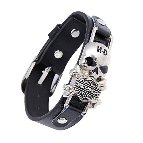 AllRing Black Herren Armband Skull Biker Lederarmband, Gotik Punk Rock Breiter Riemen Lederarmband Kette Leder Armband Armreif, Verstellbaren Größen, Schwarz Silber,Tolles Geschenk für Männe