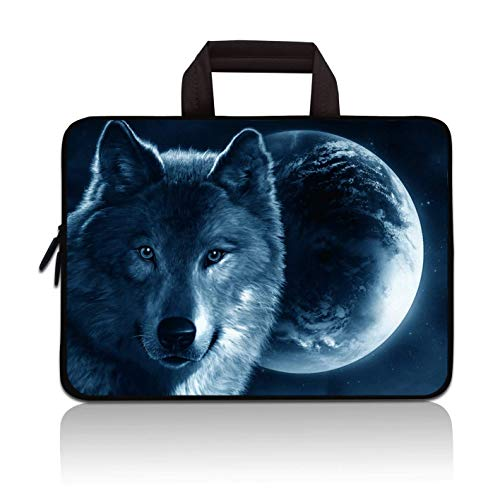 14 15 15.4 15.6 inch Laptop Handle Bag Computer Protect Case Pouch Holder Notebook Sleeve Neoprene Cover Soft Carrying Travel Case for Dell Lenovo Toshiba HP Chromebook ASUS Acer(Cool Wolf)