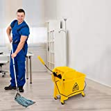 Mop Bucket with Wringer on Wheels, 5.28 Gallon Side Press Wringer Combo Commercial Cleaning Cart, Water Separation Panel for Home Office (Yellow)