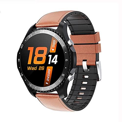 QFSLR Reloj Inteligente para Hombre Ritmo Cardíaco Presión Arterial Sueño Monitoreo Spo2 Rastreador De Ejercicios Llamada Bluetooth Smartwatch Deportivo Impermeable,Marrón