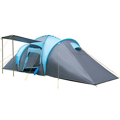 skandika Kuppelzelt Hammerfest für 8 Personen | Campingzelt mit eingenähtem Zeltboden, Sleeper Technologie mit schwarzen Kabinen, 2 Schlafkabinen, Moskitonetze, 2 m Stehhöhe, 2000 mm Wassersäule