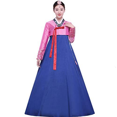 XINFU Koreanisches traditionelles langärmeliges Tanzkleid für Damen, Cosplay-Kostüm -  mehrfarbig -  US: X-Small (Hersteller Etikette:Large)