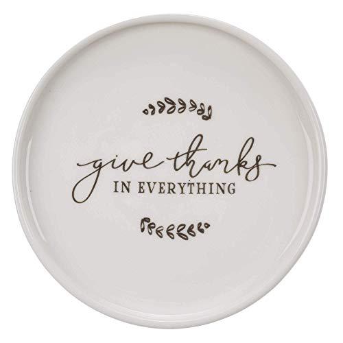Redonda de cerâmica Anel de jóias titular prato dar graças em tudo 1 Dish Tessalonicenses 5:18 do verso da Bíblia Trinket bandeja para Jóias e Acessórios