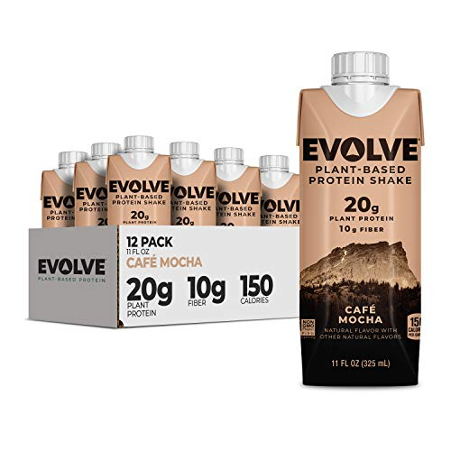 Evolve Plant Based Protein Shake, Mellow Mocha, 20g Vegan Protein, Dairy Free, No Artificial Sweeteners, Non-GMO, 10g Fiber, 11oz, (12 Pack) (Formula May Vary)