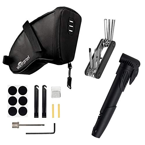 AUTOWT Bike Repair Kit, Bicycle Saddle Bag with...